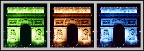 [three Arc de Triomphe images, all different colors]